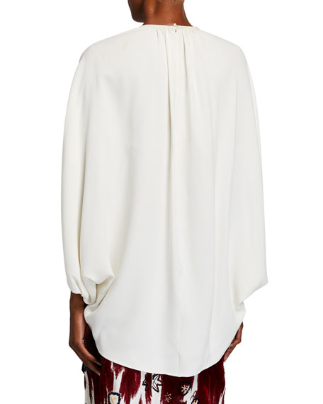 Oscar de la Renta Stretch Silk Puff-Sleeve Blouse