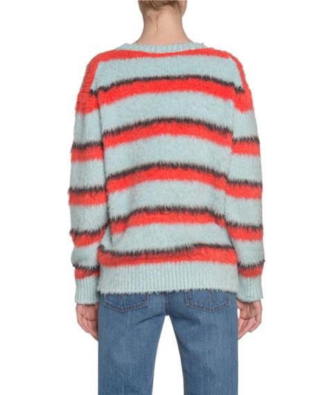 Marc Jacobs (Runway) Striped Fuzzy-Silk Crewneck Sweater