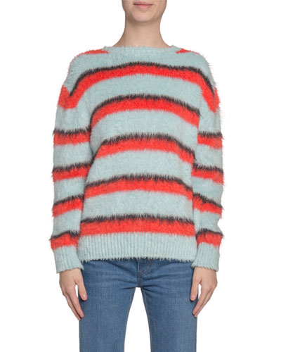 Striped Fuzzy-Silk Crewneck Sweater