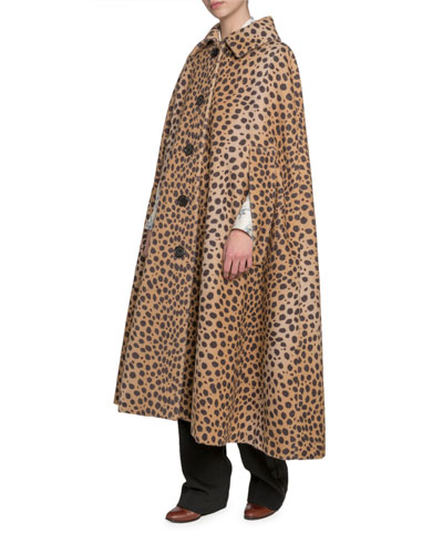 Animal-Print Cape Coat