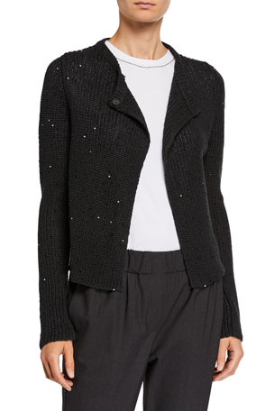 Brunello Cucinelli Sequined English-Ribbed Cardigan