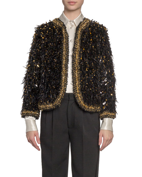 Marc Jacobs Embroidered Feather Open Blazer