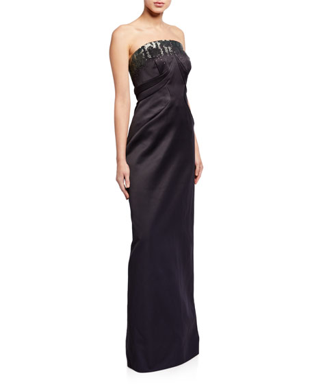 Zac Posen Strapless Embroidered Gown