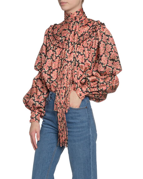 Marc Jacobs (Runway) Paisley-Print Puffy-Sleeve Blouse