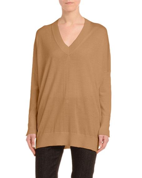 Agnona Cashmere-Silk Drop-Shoulder Sweater, Black