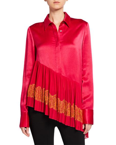ADEAM Silk Pleated Lace-Hem Shirt