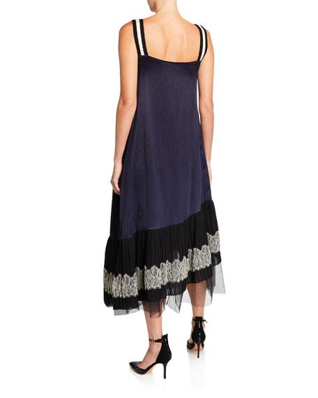 ADEAM Satin Lace-Up Pleated Slip Dress