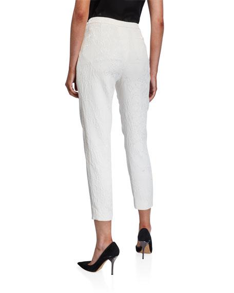 Escada Talaranto Floral Jacquard Pants, White
