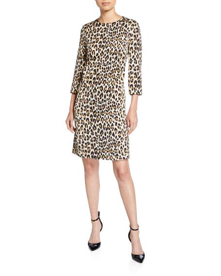 Escada Divisus Animal-Print 3/4-Sleeve Hammered Dress