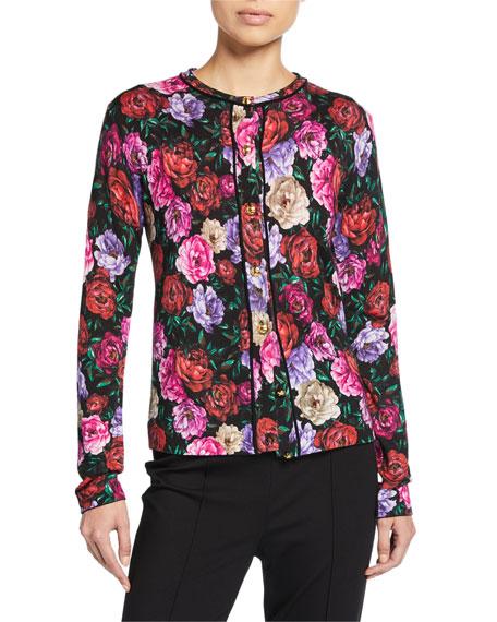 Escada Sanimeo Floral Jacquard Button-Front Cardigan