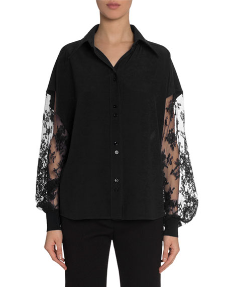 Givenchy Crepe Blouse with Lace Lantern Sleeves