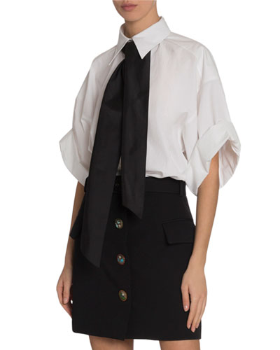 Short-Sleeve Heavy Cotton Blouse with Contrast Tie