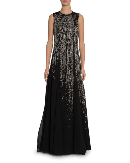 Givenchy Crystal Embroidered Sleeveless Gown