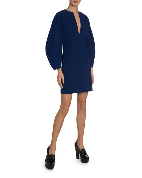 Image 3 of 3: Lantern-Sleeve Deep-V Dress