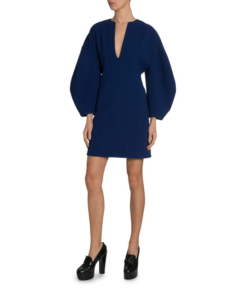Image 1 of 3: Lantern-Sleeve Deep-V Dress