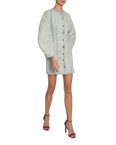Givenchy Lantern-Sleeve Button-Front Denim Dress