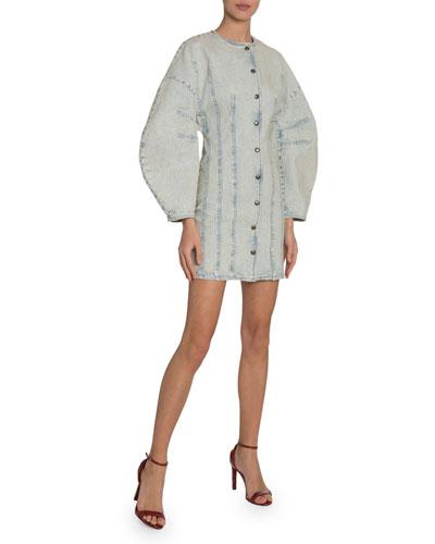 Lantern-Sleeve Button-Front Denim Dress