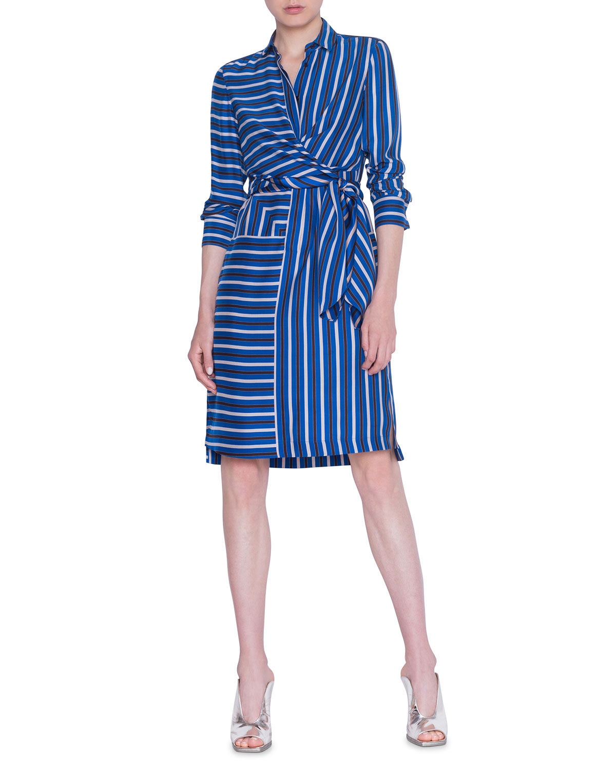 Akris punto Square-Striped Silk Crepe de Chine Shirtdress