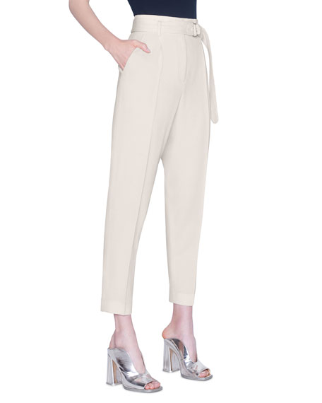 Image 1 of 2: Akris punto Fred Self-Belted Straight-Leg Pants