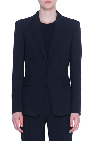 Akris punto Studded Pebble-Crepe Blazer