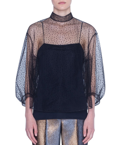 Akris punto Starry Sky Tulle Illusion Blouse