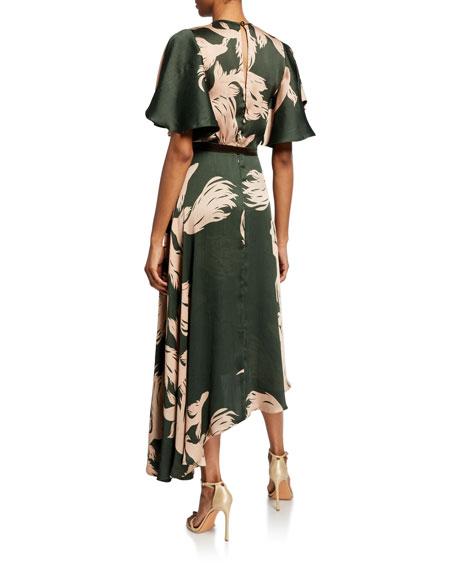 Johanna Ortiz El Despertar de la Esencia Palm-Print Satin Flutter-Sleeve Dress