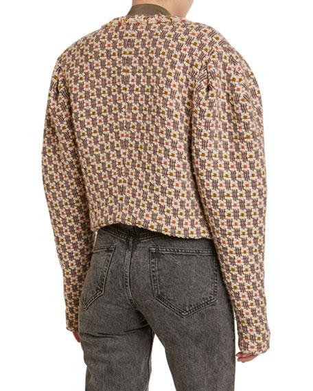 Isabel Marant Bariza Check Boucle Pagoda-Shoulder Crop Jacket