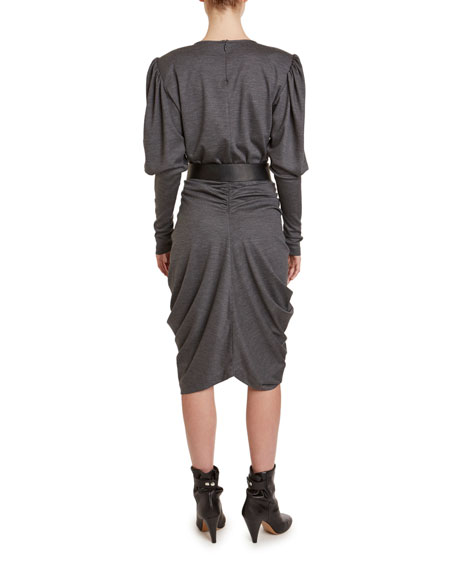 Isabel Marant Davallia Jersey Puff-Shoulder Blouse