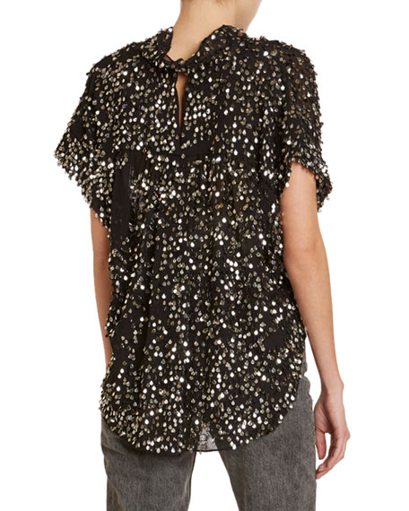 Isabel Marant Imanea Messy Sequined Cap-Sleeve Blouse