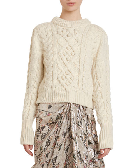 Isabel Marant Milford Cable Knit Wool Crop Sweater