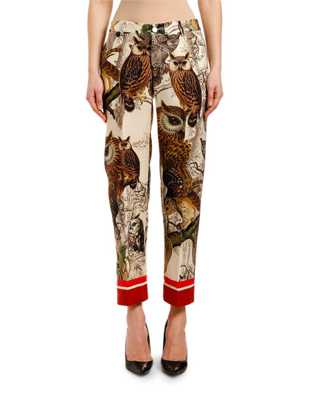 F.R.S For Restless Sleepers Owl-Print Straight-Leg Wool Pants
