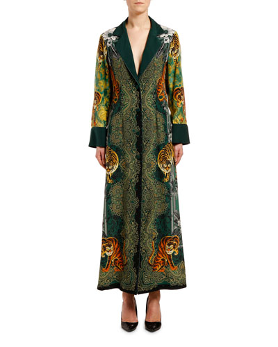 Tiger-Print Fitted Robe Coat
