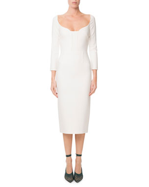 022c2f6e92 Roland Mouret Ardon Long-Sleeve Viscose Crepe Midi Dress