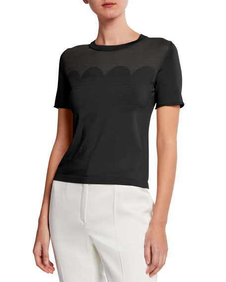 Escada Short-Sleeve Scalloped Illusion Top