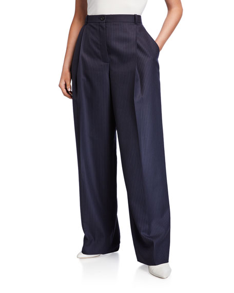 Nina Ricci Pinstriped High-Rise Wide-Leg Pants