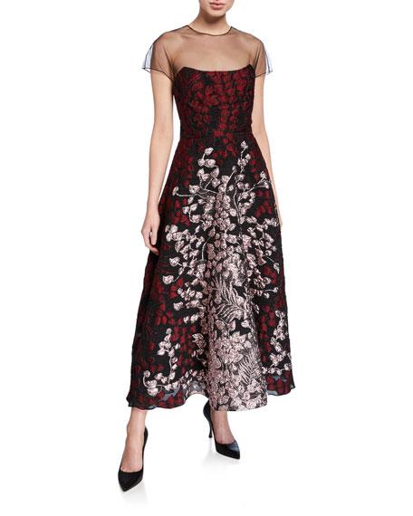 Lela Rose Organza-Bodice Illusion Midi Dress