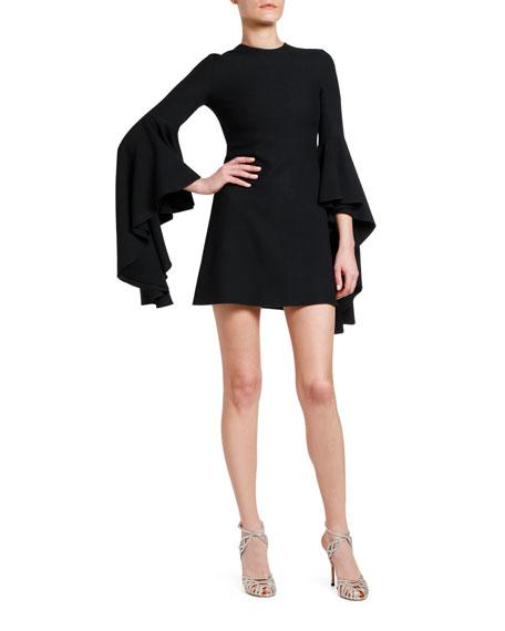 Giambattista Valli 3/4-Sleeve Flounce Bell-Sleeve Dress