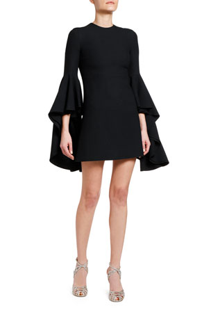 Giambattista Valli 3/4-Sleeve Flounce Bell-Sleeve Dress