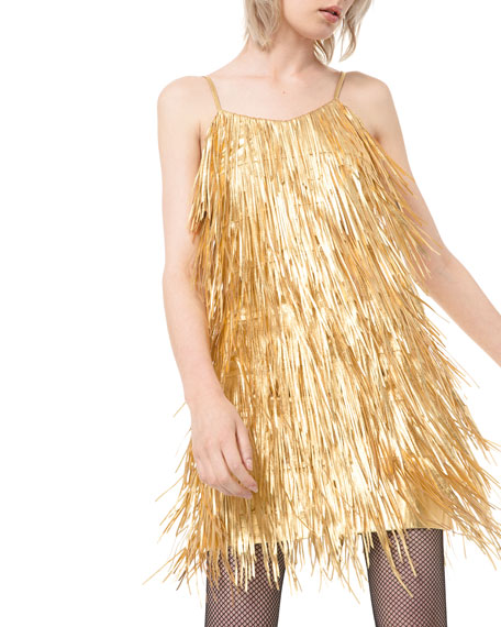 Image 1 of 3: Metallic Fringed-Leather Slip Dress