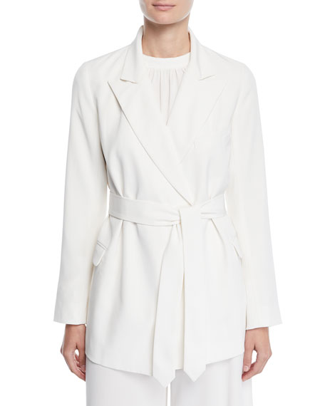 Co Peak-Lapel Stretch-Crepe Wrap Blazer