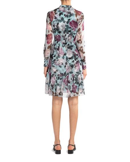 Erdem Devika Floral Print Chiffon Shirtdress