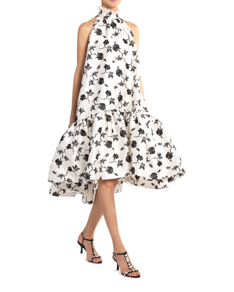 Erdem Belita Long Rose-Print Ruffled Dress
