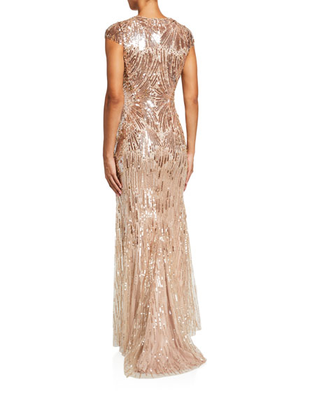 Jenny Packham Galina Sequined Tulle Cap-Sleeve Gown