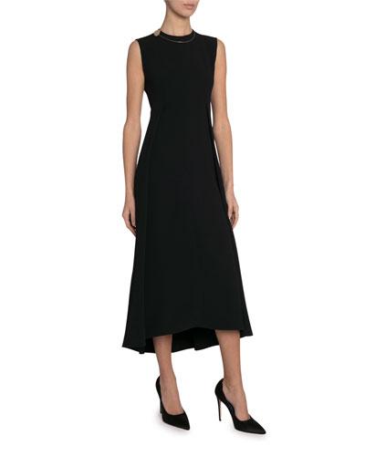 Fluid Cady High-Neck Dress