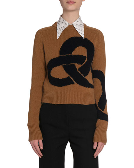 Victoria Beckham Link-Pattern Cropped Cashmere Sweater