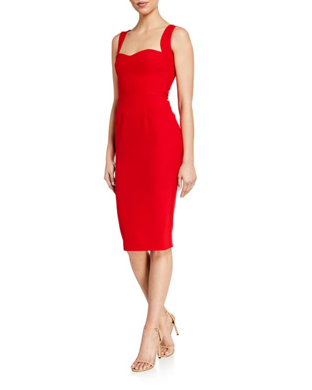 Victoria Beckham Double-Wool Crepe Fitted Sweetheart-Neck Dress