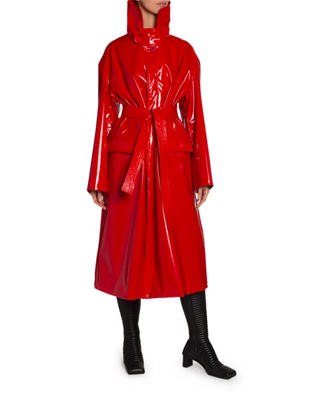 Balenciaga Vinyl High-Neck Belted Trench Coat