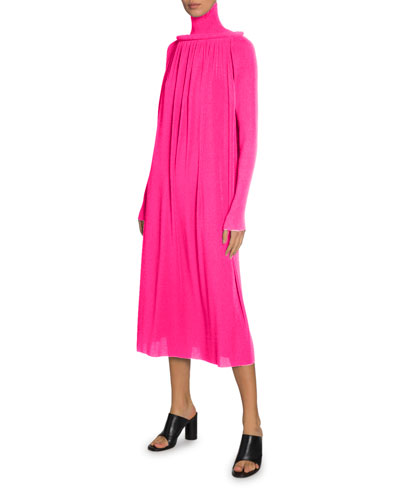 Long Slv Pleated Tech Crepe