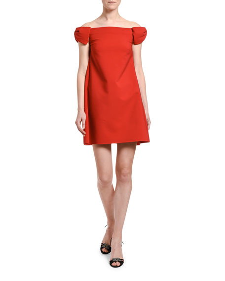 Image 4 of 4: Valentino Off-the-Shoulder Crepe Shift Dress