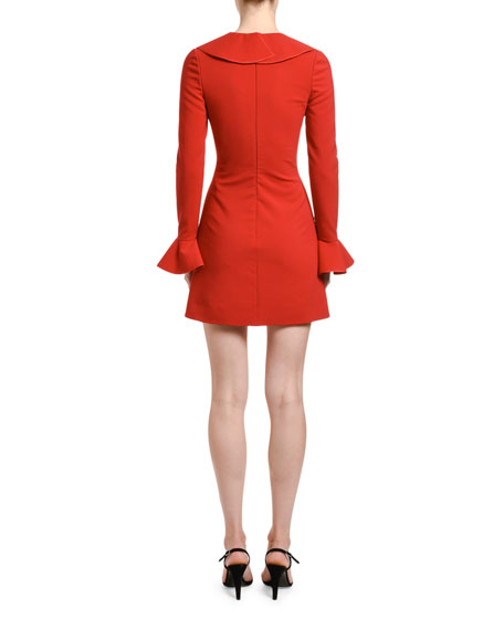 Image 3 of 3: Valentino Ruffled Neck Bell-Sleeve Dress